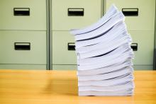 photo of a large stack of papers